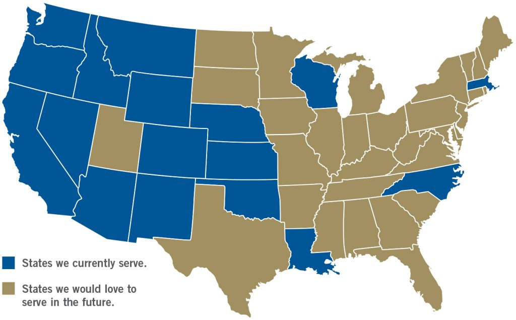 We currently serve Tribal organizations in the following States.